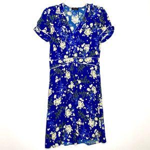 Kookaï Floral Short Sleeve Dress 34 Blue & White